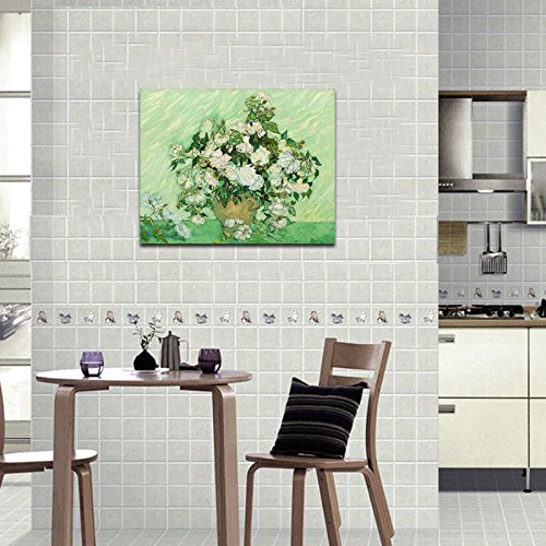 Wieco Art - Large Vase with Pink Roses by Van Gogh Famous Oil Paintings Artwork Modern Stretched and Framed Canvas Prints Floral Pictures on Canvas Wall Art for Living Room Bedroom Home Decorations