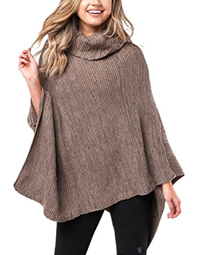 Voghtic Women Stylish Plain Cowl Neck Knitted Winter Poncho Band Wrap Shawl Cape