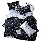 Sookie 3Pcs White and Blue Pentacle Printed Bedding Set for Kids Boys and Girls,Duvet Cover with Twinkling Stars in The Sky -Full/Queen,Black,No Comforter and Sheet