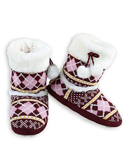ICONOFLASH Women's Sweater Knit Bootie Slipper with Faux Fur Trim (Wine Red Argyle, Medium/Large, 8-10 US)