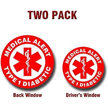 Medical alert type 1 diabetic two pack of vinyl decals for your car truck