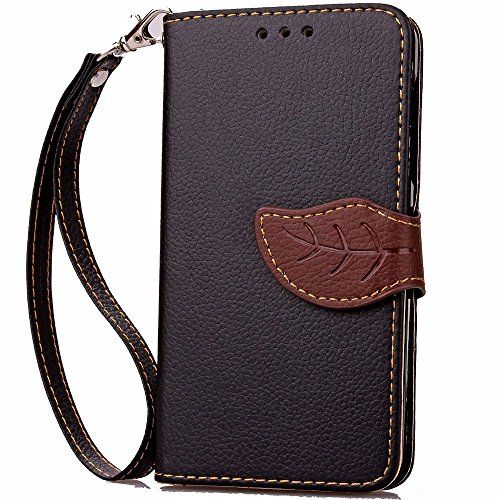 Samsung Galaxy Amp 2 Case, Nicelin Leaf Pattern PU Leather Wallet Type Magnet Design Flip Stand Case for Samsung Galaxy Amp 2 (Cricket) / SM-J120AZ [NOT FOR Samsung Galaxy Amp Prime ] (Black) - Samsung A157 Case