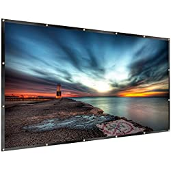 RELEE Projector Screen 120 Inch Portable 16:9 HD Projector Movies Screen for Indoor Outdoor Home Theater Cinema Movie(PVC Fabric)
