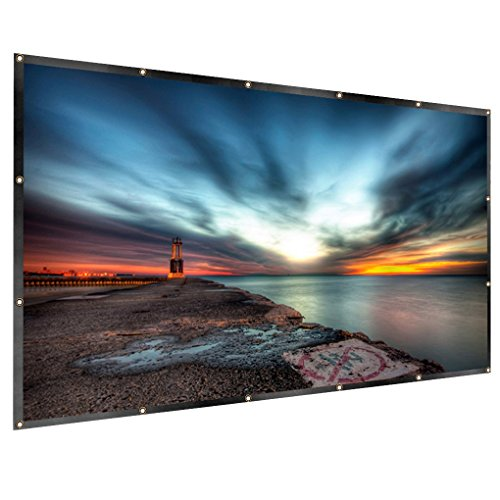RELEE Projector Screen 120 Inch Portable 16:9 HD Projector Movies Screen for Indoor Outdoor Home Theater Cinema Movie(PVC Fabric) by RELEE
