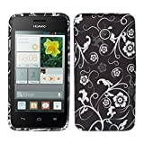 kwmobile TPU SILICONE CASE for Huawei Ascend Y330 Design flowers wallpaper white black - Stylish designer case made of premium soft TPU