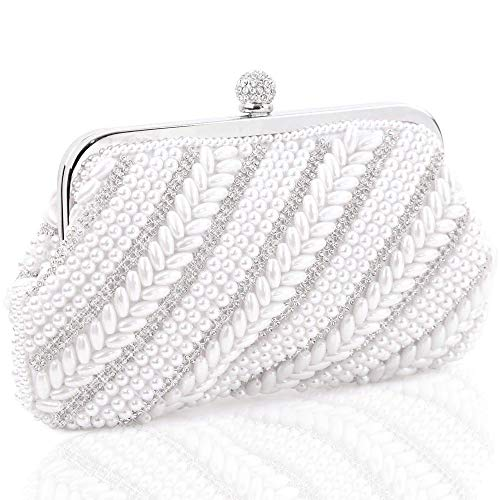 Womens Evening Bag, Artificial Pearl Beaded Clutch Handbags Wedding Party Rhinestone Purse Shoulder bags
