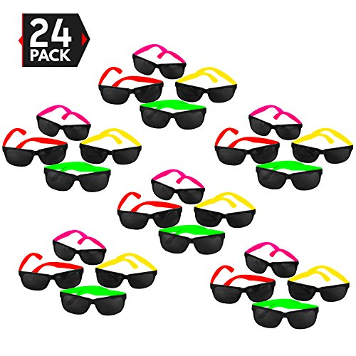 24 Pack 80's Style Neon Party Sunglasses - Fun Gift, Party Favors, Party Toys, Goody Bag - Valentines Dates Day Fun