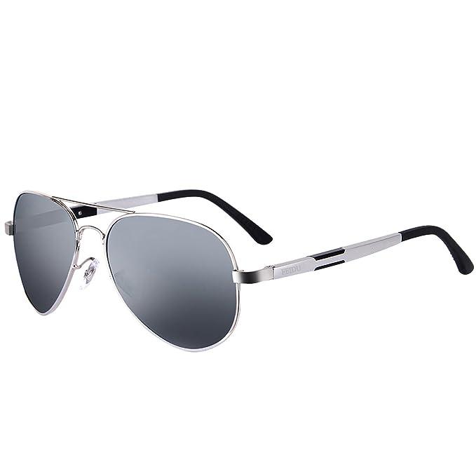 FEIDU Gafas de Sol Polarizadas Aviador Unisex FD 9001 (Gris/Plateado, 58)