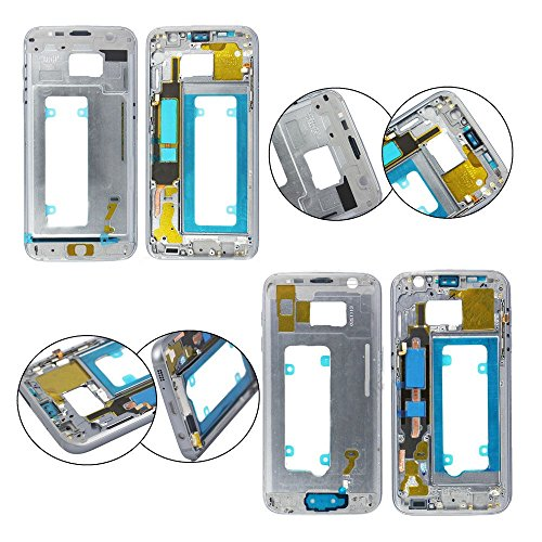 ng Galaxy S7 Edge Housing Middle Front Frame Replacement Bezel Chassis Assembly - Silver ()