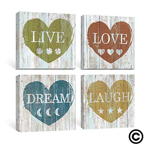 SUMGAR Inspirational Wall Art Bedroom Rustic Decor Motivational Quotes Canvas Paintings Grey Yellow Pictures Blue Red Prints Artwork Set of 4,12x12 inch ()