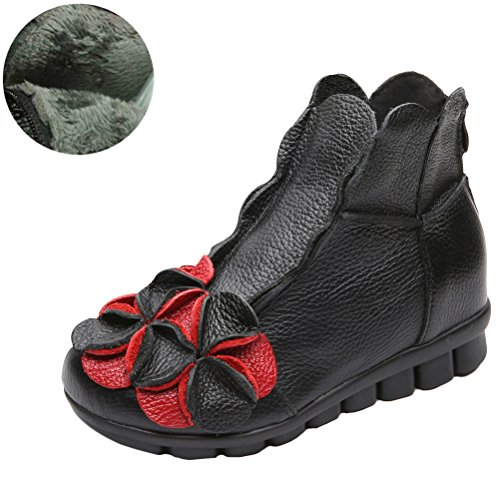 Vogstyle Women New Casual Flower Handmade Leather Ankle Boots Style 1-Black Red Flower Fleece xrnUL