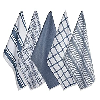 DII 100% Cotton, Ultra Absorbent Fast Dry, Professional Grade, Luxury Everyday Basic Kitchen Assorted Dish Towels 18 x 28  Set of 5- Stone Blue