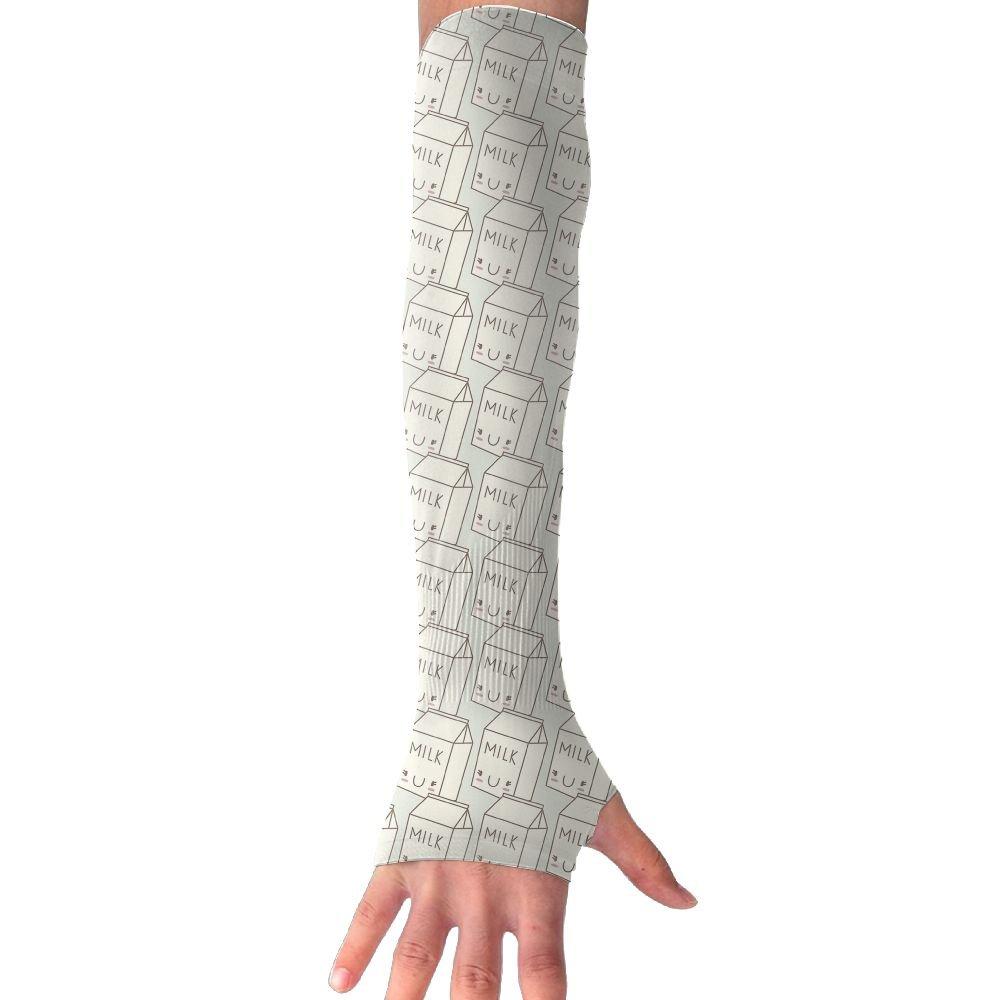 Unisex Cute Milk Sunscreen Outdoor Travel Arm Warmer Long Sleeves Glove