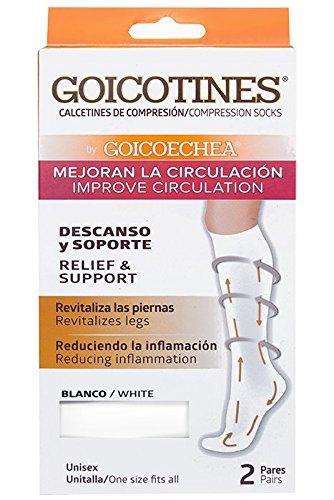 Goicotines Compression Socks White, 2 Pair, reduce inflammation, varicose veins