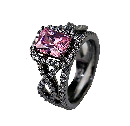Gy Jewelry 2 in 1 Ring Sets Princess Pink Sapphire Black Gold Filled Cross Women's Wedding Ring Engagement Gifts (6)