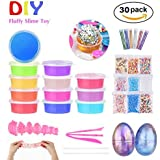 Crystal Slime, Fluffy & Stretchy Mud Slime Putty- 30Pcs Slime Kit - Non Sticky, Stress Relief, Super Soft & Squishy Glitter Sludge Foam Balls for Kids and Adults, Children' favor DIY Slime