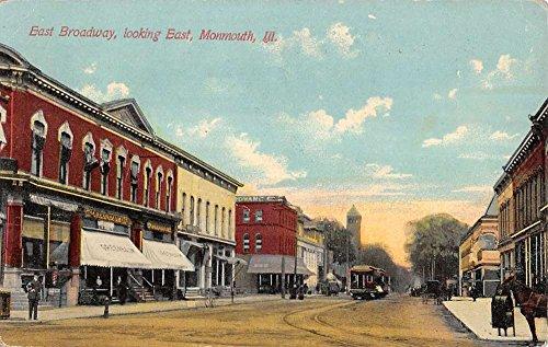 Monmouth Illinois Broadway Street Scene Trolley Antique Postcard K14898 ()