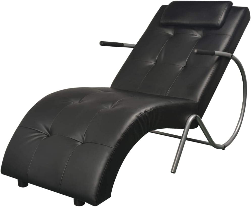 vidaxl indoor chaise lounge chair with pillow living room or home office leisure chair rest sofa chaise lounge couch black faux leather