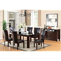 Furniture of America Renolds 7-Piece Dining Table Set with 10mm Black Tempered Glass Top, Dark Cherry Finish