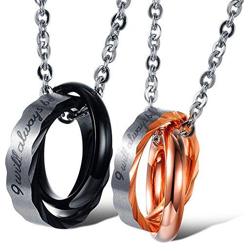 Doble collar con colgante de acero inoxidable con texto 'I will always be with you' para parejas, con doble anillo, colgante...