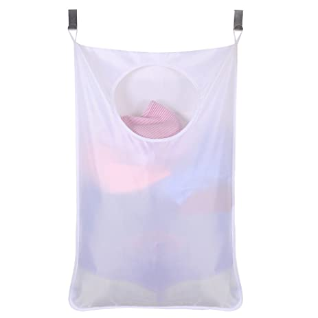 Space Saving Door Hanging Laundry Hamper Bag + 2 Stainless Steel Hooks + 2  Strong