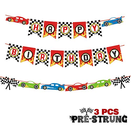 Race Car Happy Birthday Banner Pre-Strung Let's Go Racing Checkered Flag Party Supplies Decoration]()