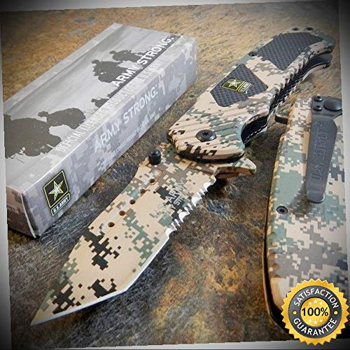 ARMY Spring Assisted Opening TANTO Folding Pocket Knife DESERT CAMO - outdoor for camping hunting