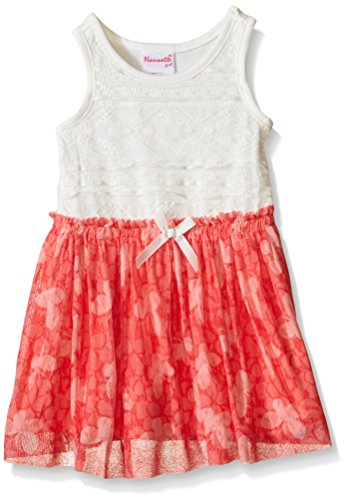 Nannette Little Girls' Toddler Lace Bodice with Chiffon Skirt, Coral, 4T