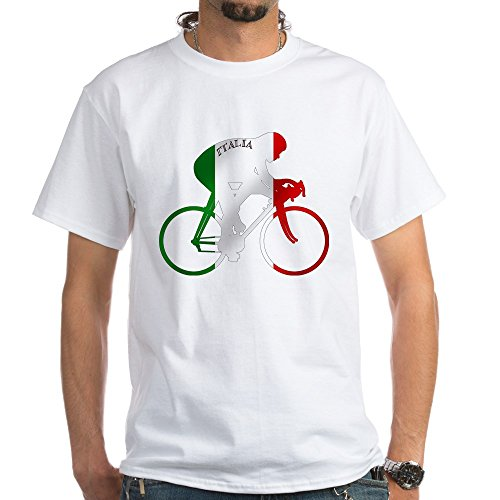 CafePress Italian Cycling White T-Shirt - 100% Cotton T-Shirt, - T-shirts Italian 100%