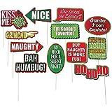 Paper Christmas Conversation Bubble Party Photo Picture Booth Prop Sticks - 12 pieces