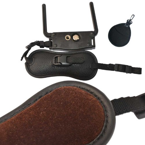 First2savvv OSH0501 Professional Wrist Grip black genuine leather hand Strap for Canon EOS 70D with LENS Cleaning Cloth
