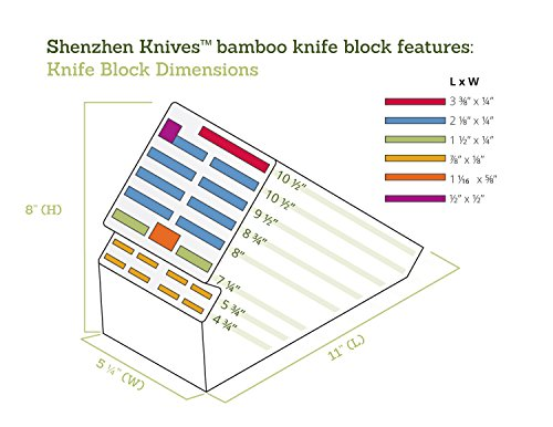 20 Slot Bamboo Universal Knife Block Without Knives. Knife Storage Organizer and Holder by Shenzhen Knives. by Shenzhen Knives (Image #5)