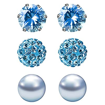 JewelrieShop Cubic Zirconia Rhinestones Faux Pearl Stud earrings for women, Birthstone Earrings Hypoallergenic Stainless Steel Earrings Pin - 3 Pairs