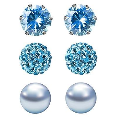 JewelrieShop Cubic Zirconia Rhinestones Crystal Ball Faux Pearl Birthstone Stud Earrings for Women Girls - Hypoallergenic Stainless Steel Earrings - 3 Pairs
