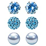 JewelrieShop 3 Pairs Stud Earrings Set for women girls Cubic Zirconia Rhinestones Faux Pearl, Birthstone, Hypoallergenic, Stainless Steel Earrings Pin