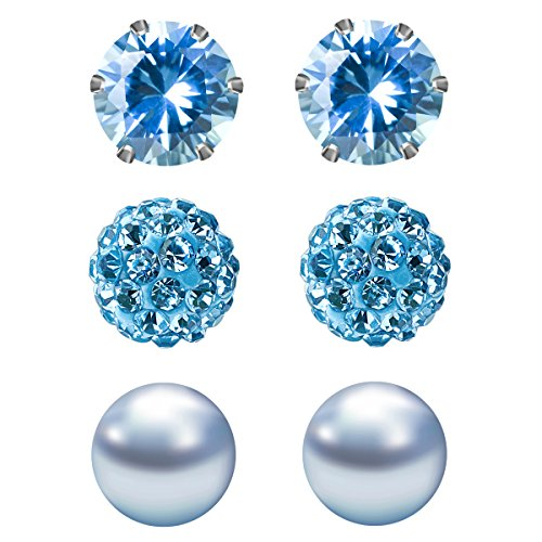 JewelrieShop Cubic Zirconia Rhinestones Crystal Ball Faux Pearl Birthstone Stud Earrings for Women Girls - Hypoallergenic Stainless Steel Earrings - 3 Pairs