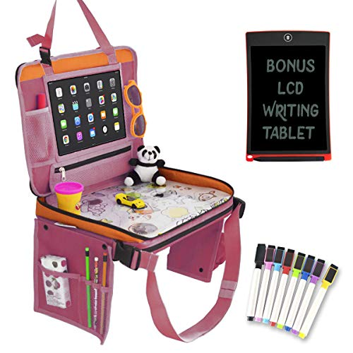 Car Seat Organizer for Kids Travel Tray Bundle with LCD Writing Tablet - Kids Travel Activities Set   Car Seat Organizer with Tablet Holder, Kids Travel Bag, LCD Writing Tablet, Markers Set (Pink)