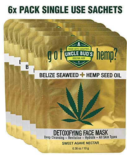 Belize Seaweed Detoxifying Face Mask with Pure Hemp Seed Oil - 6 Pack Bundle