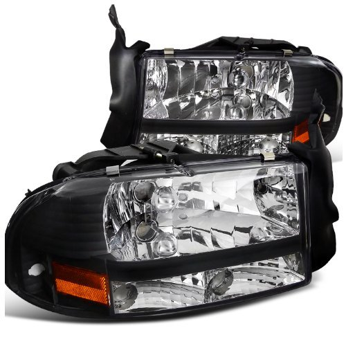 Spec-D Tuning 2LH-DAK97JM-ABM Dodge Dakota/Durango Slt R/T Headlights W/Bumper Lights 1Pc. Black ()