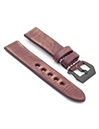 StrapsCo 20mm Brown Thick Distressed Vintage Leather Watch Band w/ Black Pre-V Buckle