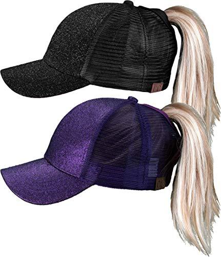 H-209-2-0640 Glitter Ponycap Trucker Hat 2-Pack: Black & Purple