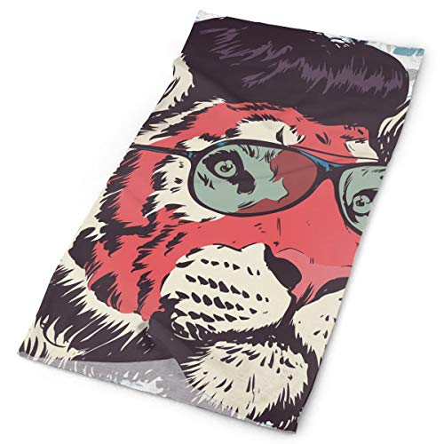 Gentleman Tiger Ink Drawing Original Headband with Multi-Function Sports and Leisure Headwear UV Protection Sports Neck, Sweat-Absorbent Microfiber Running, Yoga, Hiking