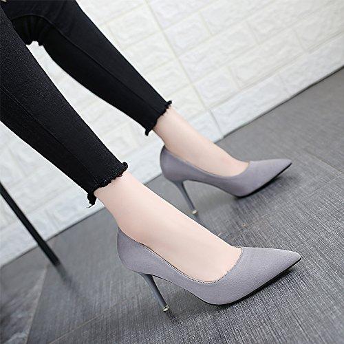 SFSYDDY Zapatos de Mujer Zapatos Únicos Zapatos de Muelle Hembra 9 Cm Zapatos de Tacón Alto de Ante Puntiagudos Delgados Talón Salvaje Medio y Dama de Honor Zapatos. gray
