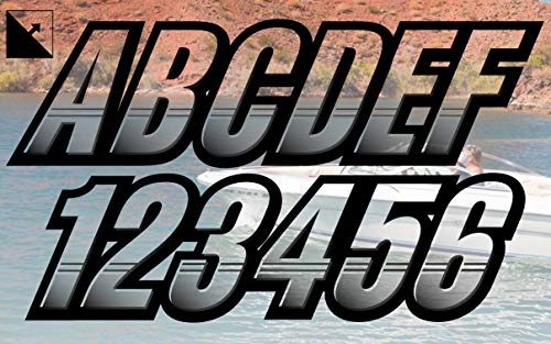 """Stiffie Techtron Transparent Clear/Black 3"""" Alpha-Numeric Registration Identification Numbers Stickers Decals for Boats & Personal Watercraft"""