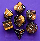 Tiger's Eye Gemstone Polyhedral Dice Set: Hand Carved Full-Sized 16mm. Great for DND RPG Dungeons and Dragons