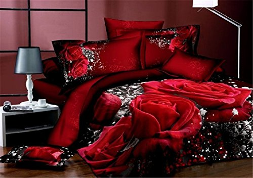 Buygeek Bedding Sets Queen Size,fashion 3d Bedding Set Print Reactive,100% Cotton High Thread Count,home Textile Bedding Set Sale,4 Pcs Bedding Set,duvet Cover Bedding Quilt Cover,flat Cover,pillowcases,bedding Set Collection-3d Red Bed Printing (Comforters On Sale)