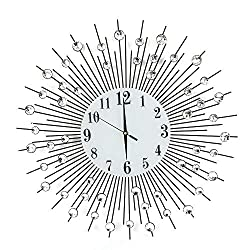 Modern Round Wall Clock Metal Wrought Iron Diamond Clock/Mute No Ticking/Battery Powered, Suitable for Living Room, Home Decoration, Gift