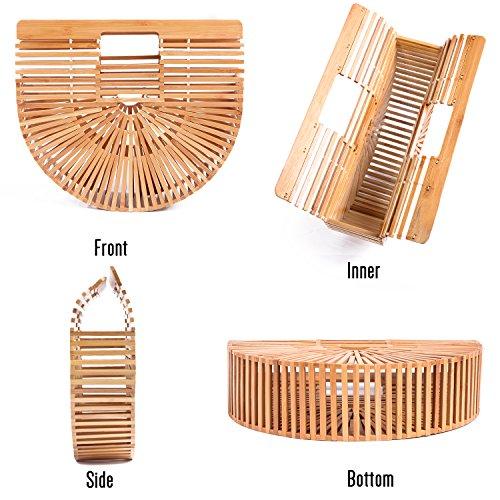 Large Bag Handmade Purse Gift Bamboo Beach Summer Satchel Handbag Top Womens Tote handle EFHxRqY