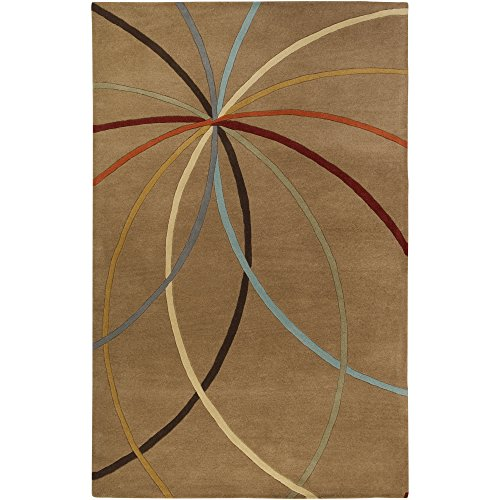 Surya Forum FM-7140 Contemporary Hand Tufted 100% Wool Driftwood Brown 9' x 12' Geometric Area Rug Driftwood Tile Flooring