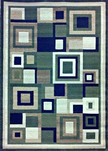 Americana Modern Geometric Contemporary Area Rug Green Black Beige Design 125 8 Feet X 10 Feet 6 Inch